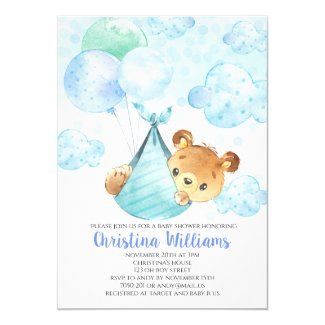 Cute Boy Baby Shower Teddy Bear Cub Invitation