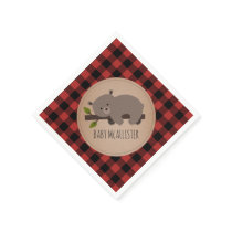 Bear Cub Lumberjack Plaid Baby Shower Napkins