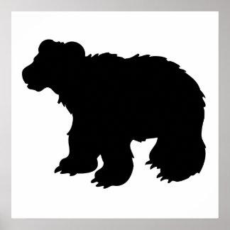 Bear Cub Silhouette Poster