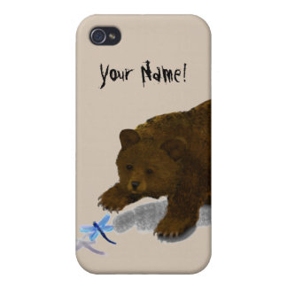Bear Cub with Dragonfly iPhone 4 Matte Finish Case