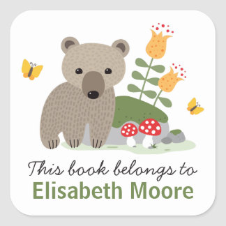 Bear cub with flowers and buttflies bookplate book