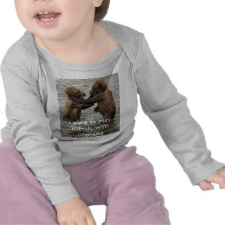Bear Cubs Play With Grandma T Shirts