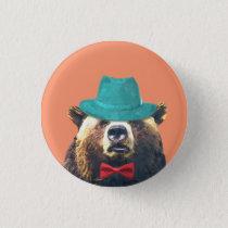 Bear cute funny woodland animal pinback button