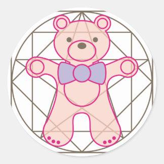 bear_da_vinci pegatina redonda