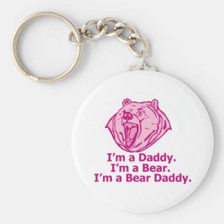 Bear Daddy Basic Round Button Keychain