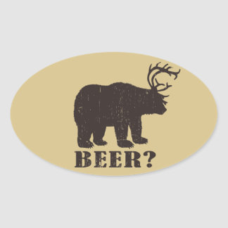 Bear + Deer = Bear? Funny Hunting Decals Oval Sticker