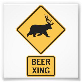 Bear Deer Beer Crossing Photo Print