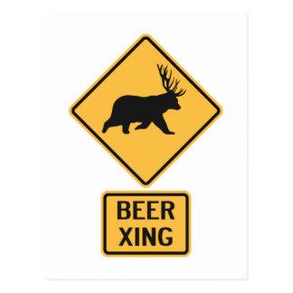 Bear Deer Beer Crossing Postcard