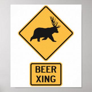 Bear Deer Beer Crossing Poster