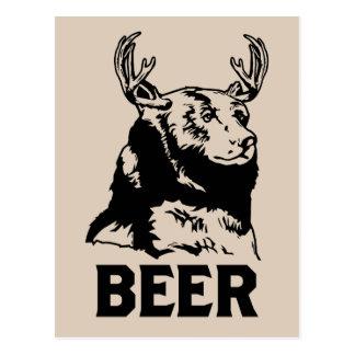 Bear + Deer = Beer Postcard