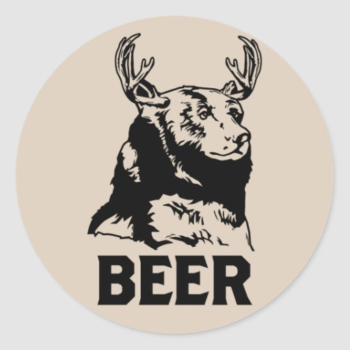 Bear + Deer = Beer Round Sticker