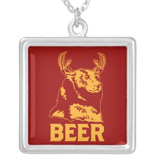 Bear + Deer = Beer Square Pendant Necklace