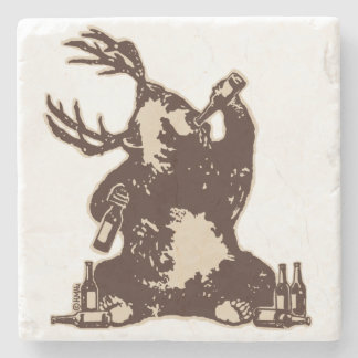 Bear, deer, drunken bear? stone coaster