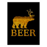 Bear Deer or Beer Bold Silhouette Poster