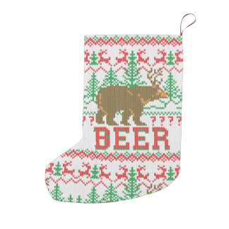 Bear Deer or Beer Christmas Jumper Knit Style Small Christmas Stocking