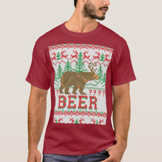 Bear Deer or Beer Christmas Jumper Knitting T-Shirt