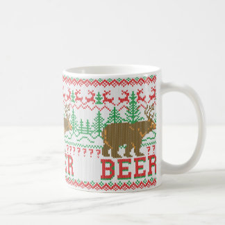 Bear Deer or Beer Christmas Sweater Knit Style Coffee Mug