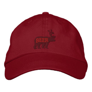 Bear Deer or Beer Embossed Embroidered Statement Embroidered Baseball Cap