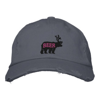 Bear Deer or Beer Embossed Embroidered Statement Embroidered Baseball Hat