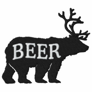 Bear Deer or Beer Embossed Embroidered Statement Polo