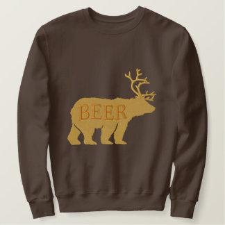Bear Deer or Beer Embossed Embroidered Statement Embroidered Sweatshirt