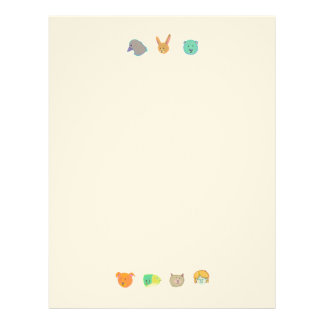 Bear dog cat rabbit fish human bird - 7 faces letterhead