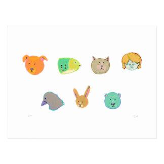 Bear dog cat rabbit fish human bird - 7 faces postcard