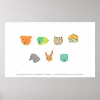 Bear dog cat rabbit fish human bird - 7 faces poster