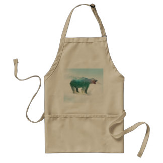 Bear double exposure - polar bear - bear art adult apron