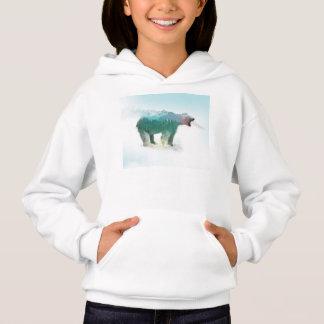 Bear double exposure - polar bear - bear art hoodie