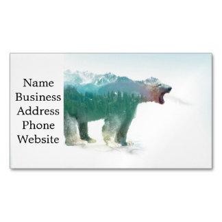 Bear double exposure - polar bear - bear art magnetic business card