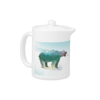 Bear double exposure - polar bear - bear art teapot
