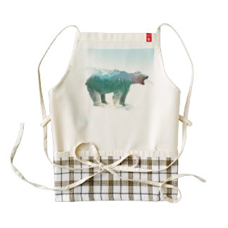 Bear double exposure - polar bear - bear art zazzle HEART apron