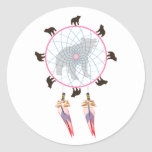 Bear Dream Catcher Classic Round Sticker