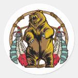 Bear Dreamcatcher Round Stickers