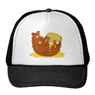 Bear eating from a beehive trucker hat