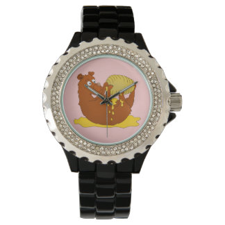 Bear eating from a beehive wrist watch