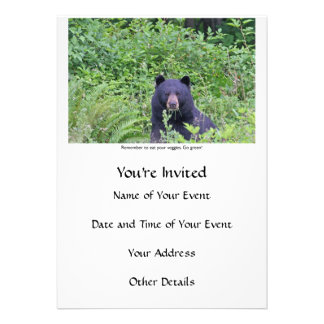 Bear Eating His Veggies Invites