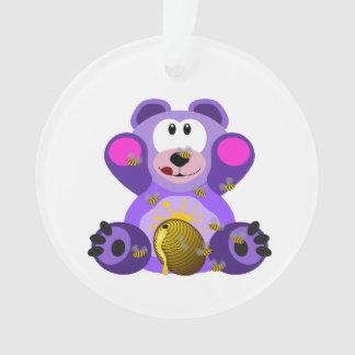 Bear eating honey clipart ornament