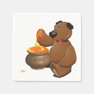 Bear Eating Honey Paper Napkins