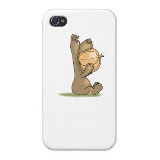 Bear Eating Pumpkin iPhone 4/4S Cases