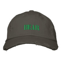 BEAR EMBROIDERED BASEBALL HAT