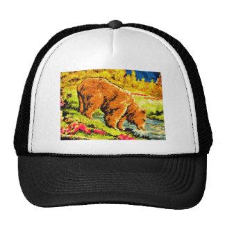 Bear embroidery design mesh hat