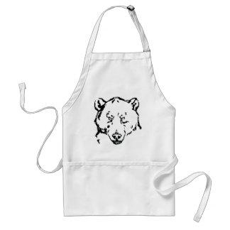 Bear face outline adult apron