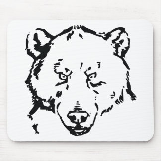 Bear face outline mouse pad