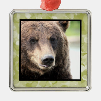 Bear Face Square Ornament