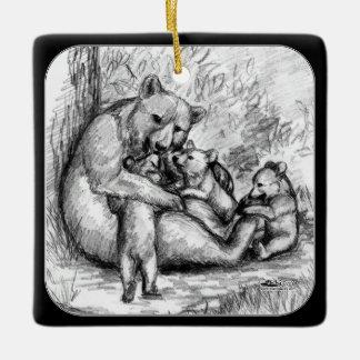 Bear Family Ceramic Ornament