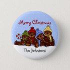 Bear family Christmas button