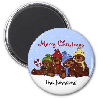 Bear family Christmas magnet