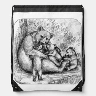 Bear Family Drawstring Bags